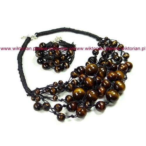 brązowy komplet biżuteri z drewna